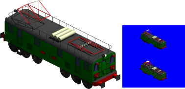 Preview of 260 class locomotive. The big locomotive is the Blender model. I have modified it in order to get better renders in some smooth borders, I have pasted a 32 bpp sprite over the blue square with the 8 bpp sprite.