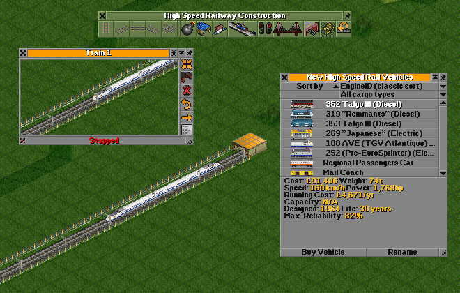 Screenshot with high speed tracks on OpenTTD.