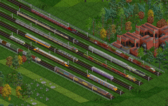 Screenshot of various 2CC trains in new colours.