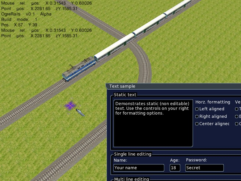 Screenshot with example CEGUI window and visual map cursor.