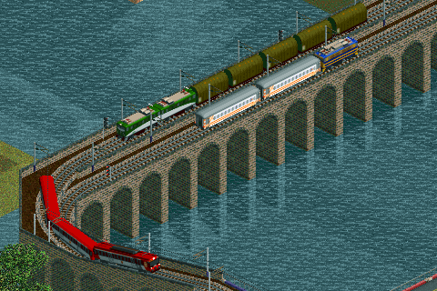 "Screenshot with 440 train (bottom), a 289.1 with some tarp roof wagons and a 269 with ""thousandlines"" decoration and two 8000 cars for regional services."