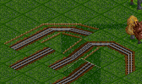 Fence for rackrail, no fence for normal track.
