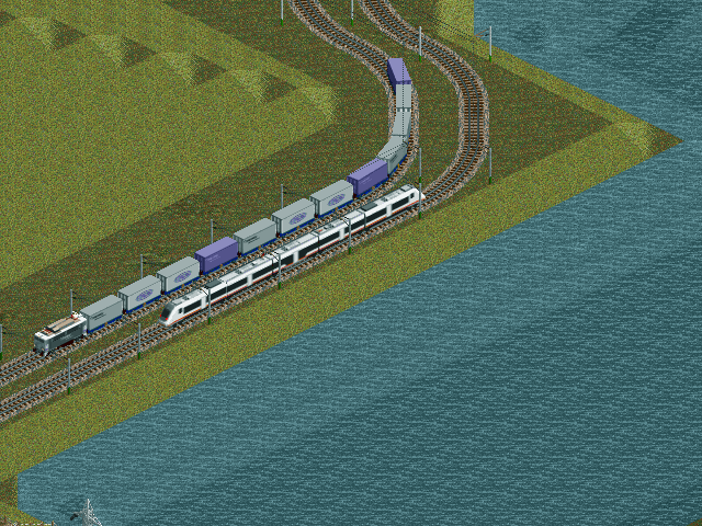 Screenshot with a &quot;Sea Bream&quot; EMU (class 449) and Japanese locomotive with some milk products containers.<br />The containers doesn't look good on this angle, I cant render vertical lines on it, but... other angles looks good. :(