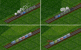 Top: engine being attached to the other end of a consist with 2-axle passenger coaches and a mail van; Bottom: push-pull being performed by a BB600cv-driven train