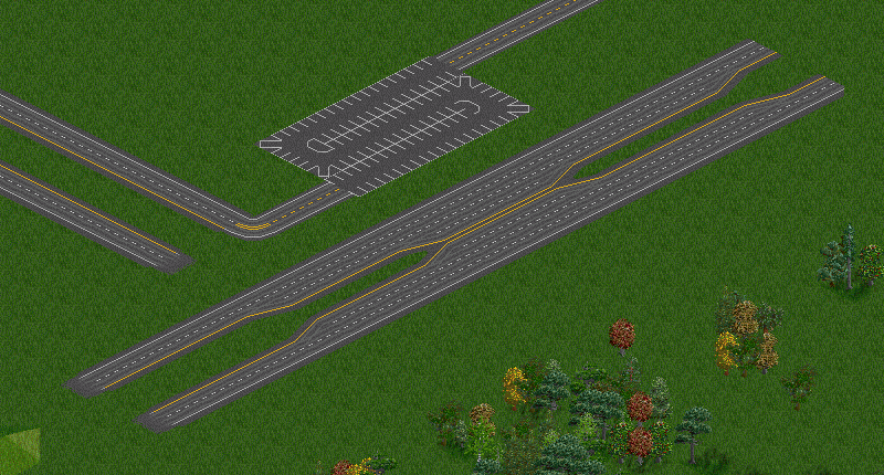 Note that there are objects along the top edges of both roads, not just in the middle of them
