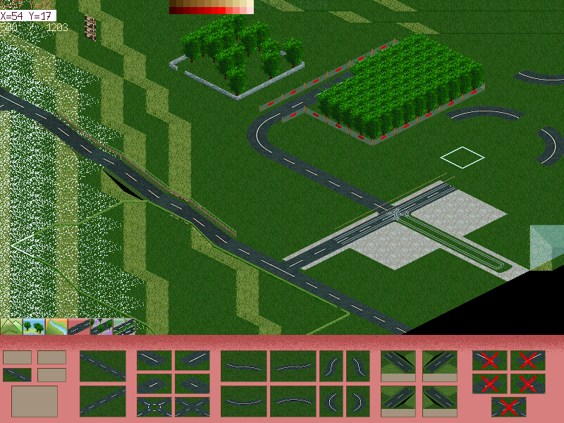 Screenshot with some trees and roads.