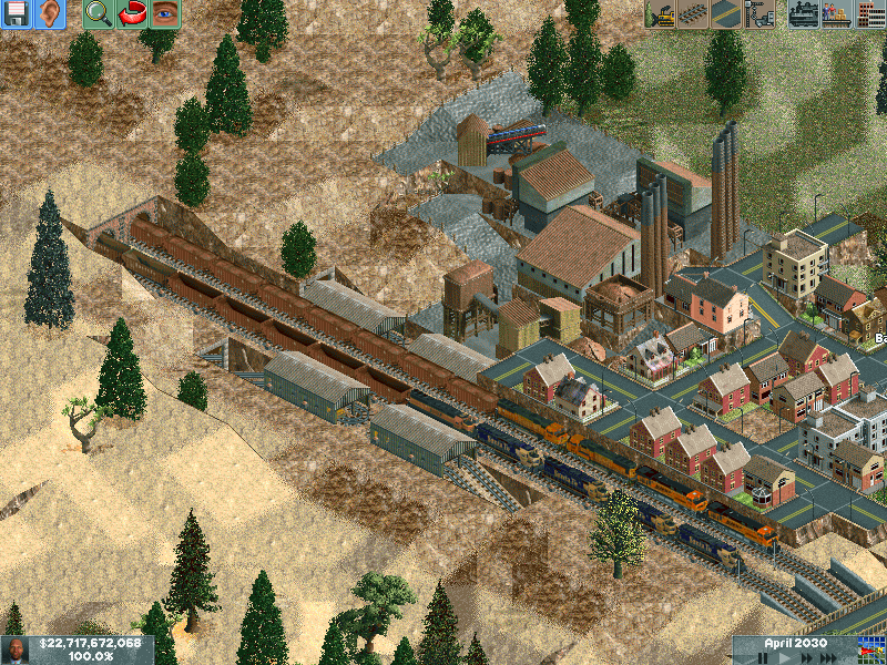 The long iron train at the top of the mountain. Ore trains now have help from minecarts