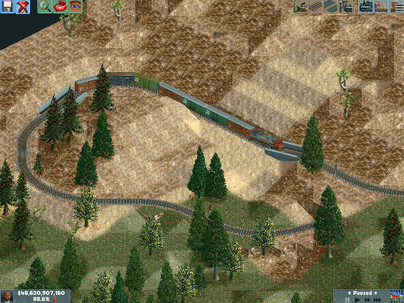A short paper train climbing up the mountain