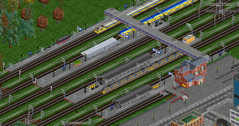 Going from lowest platform with overpass to upper platform:<br />Platform 1: wire interrupted on whole tile<br />Platform 2: wire correct<br />Platform 3: wire interrupted on whole tile<br />Platform 4: wire correct<br />Platform 5: clipping issue<br />Platform 6: wire above overpass