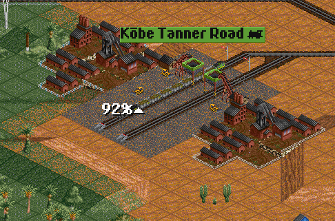 Copper mining operation begins down the mountain from Kobe. The random number overlords blessed this save with two copper mines side by side. 2-10-2 Santa Fe's were the best compromise of power and price for this operation.