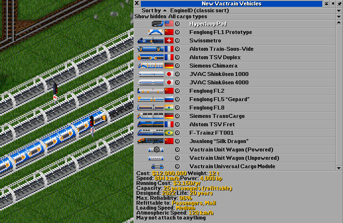 A small preview of the train list and new rails