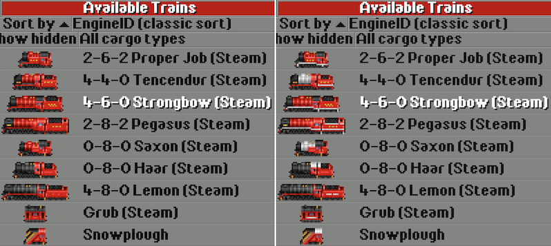 Some of the repainted steam engines with 1CC/2CC