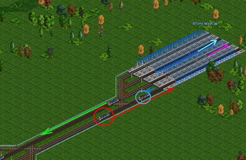 Green train is leaving station correctly.<br />Blue train left station recently and stops at signal correctly.<br />Lightblue and violet trains are in the station, blocking two platforms.<br />All platforms were ocupied for arriving train (platforms to the left are blocked by leaving green train, platform ahead is blocked by leaving blue train), still hi pickes an occupied track ahead.