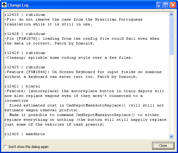 The change log dialog, can be disabled/enabled either in the main configuration dialog or using the checkbox in the lower left corner.
